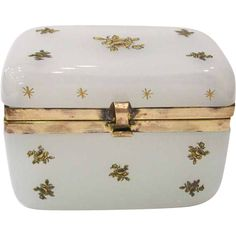 Antique French Opaline Box with Rose Decoration