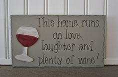 Ready to Ship Hand Painted Wooden Gray Funny Wine by kimgilbert3, $16.00
