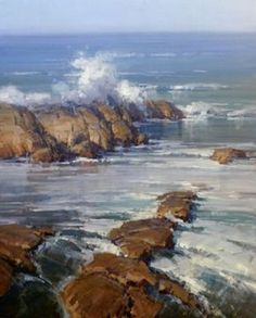 Scott Christensen - Sounds of the Ocean Landscape Art, Landscape Paintings, Watercolor Landscape, Ocean Sounds, Coastal Art, Sea And Ocean, Seascape Paintings, Beach Art, Costa