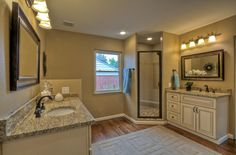 Traditional Master Bathroom with Paint1, flush light, Master bathroom, Complex granite counters, Raised panel, Flush