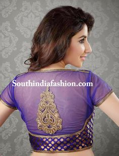 A Modern Blouse for a Traditional Saree – Classy brocade and net blouse with transparent net high back neck and transparent sleeves with copper lace borders and a copper motif on the back. Brocade Blouse Designs, Saree Blouse Patterns, Choli Designs, Blouse Neck Designs, Blouse Styles, Net Blouses, Brocade Blouses, Brocade Saree, Silk Sarees