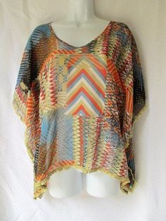 Forever 21 Sheer Batwing Top Dolman Flowy Gold Orange Blue Shirt Tunic Size M #FOREVER21 #Tunic #Casual