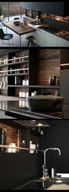 20 Trendy Kitchen Design Dark Cabinets Modern Back Splashes Interior Design Kitchen, Modern Interior, Interior Architecture, Modern Decor, Modern Design, Black Kitchens, Cool Kitchens, Kitchen Black, Cuisines Design