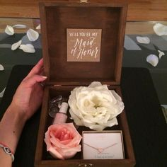 "Creative Ways to Ask Your Girls to Be Bridesmaids [   ""Will you be my Maid of Honor? Will you be my Bridesmaid? Bridesmaid proposal box- box you can get at dollar store and just stain it :) nice sweet but yet still works for the budget"" ] #<br/> # #Bridesmaid #Proposal #Box,<br/> # #Bridesmaid #Announcement #Ideas,<br/> # #Wedding #Bridesmaids #Ask,<br/> # #Wedding #Boxes,<br/> # #Ways #To #Ask #Your #Bridesmaids #Creative,<br/> # #Maid #Of #Honor #Gift #Ideas #Will #You #Be #My,<br/> #…"
