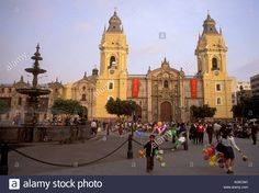 Peruvian people, Cathedral, Plaza de Armas, city of Lima, Lima Stock Photo, Royalty Free Image: 8105792 - Alamy