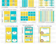 Printable DIY Personalized Yellow and Teal Monkey Boy Theme LARGE Birthday Package