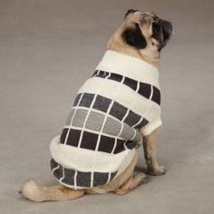 Chenille Block Dog Sweater (Medium) (Creme) $11.50
