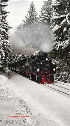 Train, Steam Train, Christmas, Snow, Winter, Animated by Snappyscrappy
