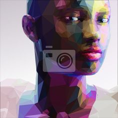 Carta da parati Low poly abstract portrait of a black girl