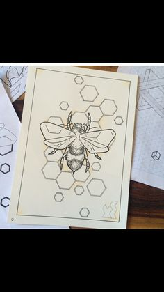 Bee honeycomb tattoo Sick Drawings, Art Drawings Sketches, Tattoo Drawings, Body Art Tattoos, Honeycomb Tattoo, Bee Honeycomb, Insect Tattoo, Bee Art, Art Projects