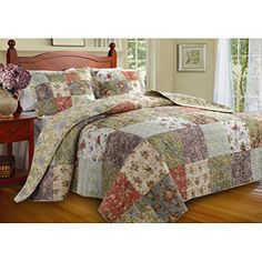 Blooming Prairie Patchwork Quilt Set features pretty Jacobean style florals, paisley designs, and leaf patterns. Cotton patchwork quilt includes colors of. Bed Sets, Quilt Bedding, Bedding Sets, Twin Quilt, Baby Bedding, Quilted Bedspreads, Best Mattress, Foam Mattress, Queen Quilt