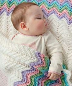 With a blanket that measures 36 x 36 any little baby is sure to stay cozy in this fabulous crochet design. The Pastel Rainbow Baby Blanket is done in single crochet with five coordinating crochet colors. Baby Afghan Crochet Patterns, Crochet Ripple, Manta Crochet, Baby Blanket Crochet, Knit Crochet, Crochet Blankets, Crochet Afghans, Ripple Afghan, Rainbow Crochet