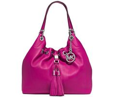 NWT MICHAEL Michael Kors Pink Camden Leather Large Drawstring Shoulder Bag Tote  #MichaelKors #ShoulderBag