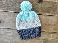 Color Block Knit Beanie with Pom // Color Block by EllikinKnits