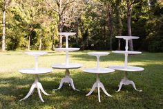 Collection of Tiered Tables - Painted white and perfectly sized, these tables can sit on the ground or on top of another table to create a stunning display. Our clients love to use these for cakes, cupcakes, desserts & displaying gifts, photos & favors. *Paisley & Jade...Vintage & Eclectic Furniture Rentals for Events, Weddings & Photo Shoots*