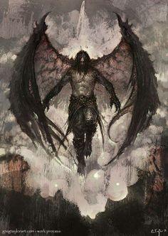 Raven Lord - With Walk-through by GregTaylorArt on DeviantArt - Garbril, Son of Hellas. Demon of Decay - Fantasy Kunst, Dark Fantasy Art, Fantasy Artwork, Fantasy World, Dark Art, Fantasy Men, Fantasy Creatures, Mythical Creatures, Angel Warrior