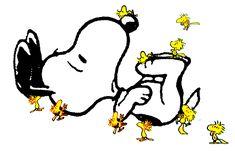 Agora Woodstock chama seus amigos passarinhos para carregar seu grande amigo canino Snoopy!