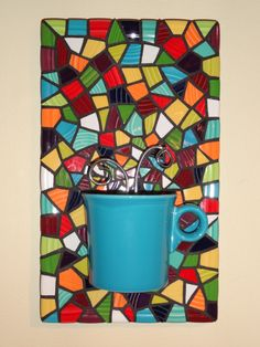 Mosaic Peacock Coffee mug kitchen art 3d art bright by Tikimann3