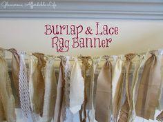 Burlap & Lace Rag Banner | Farmhouse Chic