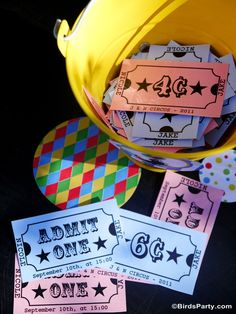 Circus carnival birthday tickets and games