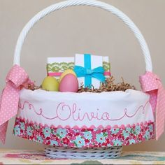 Dainty Darling pink, aqua and turquoise floral Easter basket liner made by Amy and Angel of TaDaCreastions. Made to fit Pottery Barn Sabrina Easter baskets. See this Instagram post by @tadacreations • 9 likes