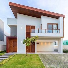 ❤️ Model Rendering Design & Visualization By unknown House Structure Design, Facade Design, Exterior Design, Minimalist House Design, Small House Design, Modern House Design, Modern Bungalow House, Modern House Plans, Zen House