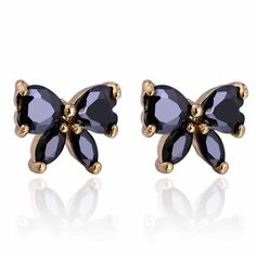 10mm 18K Gold Plated Fashion Black Butterfly Shaped Inlaid Zircon Ladies Copper Earrings