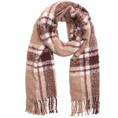 La Fiorentina Oversized Plush Plaid Fringe Scarf ($65) ❤ liked on Polyvore featuring accessories, scarves, camel, oblong scarves, tartan scarves, tartan plaid scarves, long scarves and tartan plaid shawl