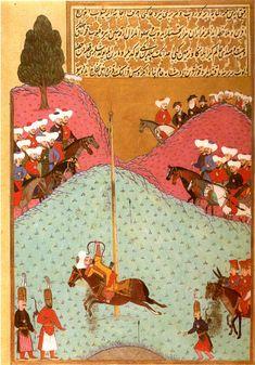 Sultan Murad II at Archery Practice Huner-nama ('Book of Skills'). Istanbul, 1584. Hazine 1523, folio 138a