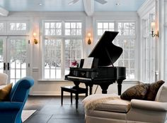 I want a piano room someday. Also, piano lessons. The Piano, Grand Piano Room, Piano Room Decor, Piano Living Rooms, Living Area, Dining Room, Sunroom Addition, Sunroom Decorating, Decorating Ideas