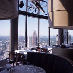 The Sun Dial - a revolving three-level restaurant, bar & view, with an amazing panoramic view of Atlanta from a 73-story height ... at the Westin Peachtree Plaza on Peachtree St. in downtown.