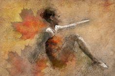 Kunst, Malerei, Mädchen, Pose, Ballett, Tänzerin