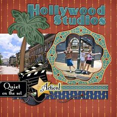 #Disney Hollywood Streets of America #Scrapbook Layout by Sharon using Vintage Disney Digital Kit by Capturing Magical Memories