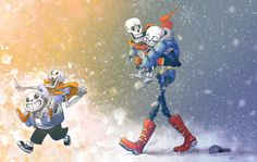zaralt: I have strong feelings for everyone in Undertale, but I especially adore the skeleton brothers Sans and Papyrus. They kill me in both the best and worst ways. Undertale Fanart, Undertale Au, Undertale Drawings, Sans And Papyrus, Underswap, Time Kids, Bad Timing, Scary, Fan Art