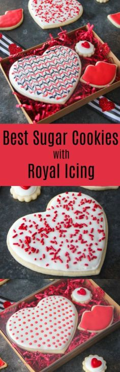 This delicious sugar cookies recipe paired with scrunchy royal icing is sure to please your pickiest sugar cookies taste tester. Sugar Cookie Recipe With Royal Icing, Royal Icing Recipe With Egg Whites, Soft Sugar Cookies, Sugar Cookies Recipe, Cookie Recipes, Dessert Recipes, Party Recipes, Valentines Food, Cookie Decorating