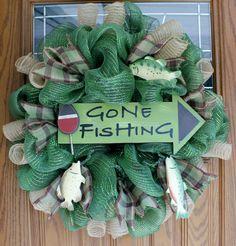 Large wreath,Gone FIshing Deco Mesh Wreath, Deco Mesh Wreath, Fish Wreath, Summer Wreath, Fishing Wreath , Fishing Lodge Wreath, Camp Wreath by creativecraftsbycher on Etsy https://www.etsy.com/listing/193039156/large-wreathgone-fishing-deco-mesh