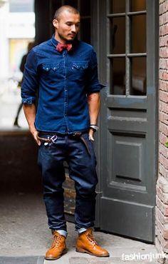 """デニムシャツコーデメンズ""""Daniel""""--- normally not into denim on denim but the mixed hues and boe tie with tan boots give this a nice industrial fashion look."""