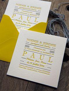 Petit faire-part carré pour Paul imprimé en 2 couleurs - réalisation Cocorico Letterpress / Baby boy birth announcement square card