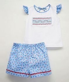 Loving this Blue Geometric Smocked Tee & Shorts - Infant, Toddler & Girls on #zulily! #zulilyfinds