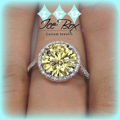 Canary Moissanite Engagement Ring 10mm 4ct Round in a 14K White Gold Diamond Halo Setting- Great Canary Yellow Diamond Alternative