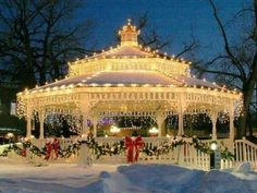 Another reason I would like a gazebo! A lovely elegant lighted gazebo on the town green! You could do this in your own gazebo at home! Noel Christmas, Merry Little Christmas, Outdoor Christmas, All Things Christmas, Winter Christmas, Christmas Lights, Vintage Christmas, Christmas Decorations, Christmas Wedding