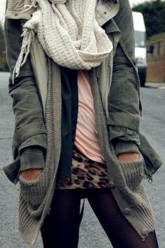 black leggings, leopard tunic tank, pink tee, grey sweater, cargo jacket, knit scarf