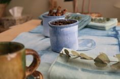 Table setting - Shibori dyed linen by Susurro.