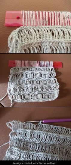 broomstick (well, ruler) lace crochet.