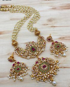 Indian Bollywood AD New Gold Pendent Long Necklace Fashion Jewelry Set A 813 Jewelry Design Earrings, Gold Earrings Designs, Fashion Jewelry Necklaces, Bead Jewellery, Gold Jewelry, High Jewelry, Charm Necklaces, Gold Necklaces, Tiffany Jewelry