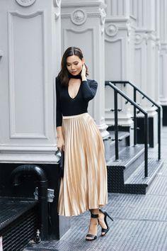 Date night look + metallic skirts!