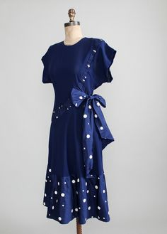 Vintage 1940s Navy Rayon with Polka Dot Dress