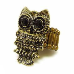 New to VintageVegasGems on Etsy: Gold Tone Owl Stretch Ring with Black Rhinestone Eyes (12.00 USD)