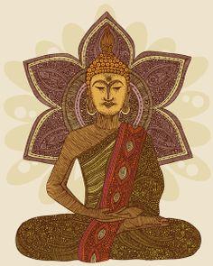 Sitting Buddha ~ artist Valentina  #art #illustration