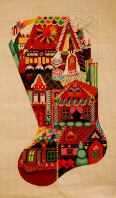 Gingerbread Village Stocking $370 Past Times Needlepoint offers this hand painted needlepoint canvas from the Fleur De Paris/Dedes Needlearts collection.  We can match any canvas with your favorite needlepoint yarn to create custom needlepoint kits.   13 x 23.5  18 Count